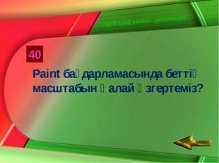 Paint графикалық редакторы 40 Paint бағдарламасында беттің масштабын қалай өз