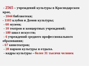 - 2565 – учреждений культуры в Краснодарском крае, - 1044 библиотеки; - 1103