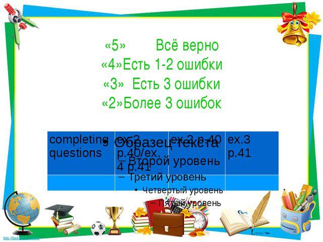 «5» Всё верно «4»Есть 1-2 ошибки «3» Есть 3 ошибки «2»Более 3 ошибок