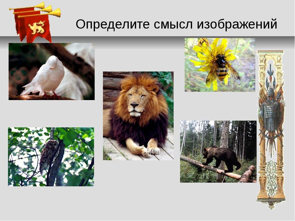 Определите смысл изображений