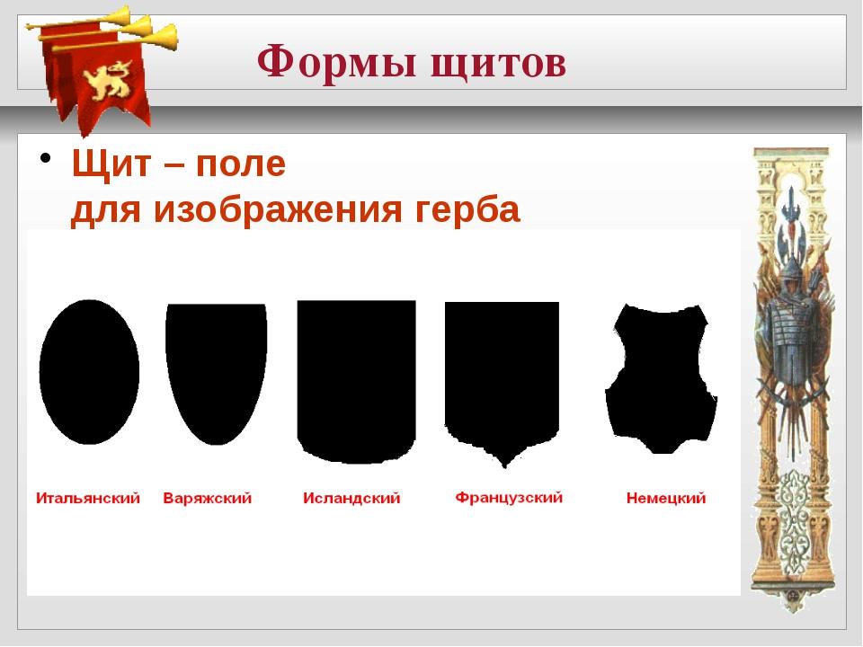 Формы щитов Щит – поле для изображения герба