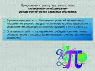Предложения к проекту педсовета по теме: «Качественное образование – ресурс у