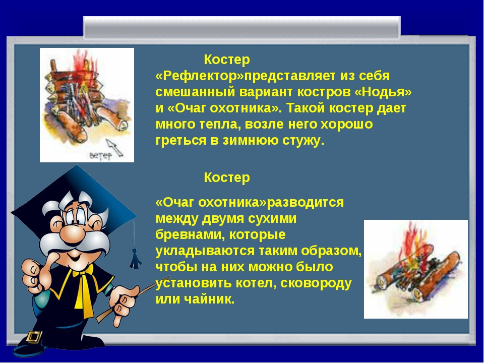 Костер «Рефлектор»представляет из себя смешанный вариант костров «Нодья» и «...