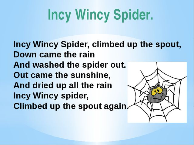 Incy Wincy Spider. Incy Wincy Spider, climbed up the spout, Down came the rai...