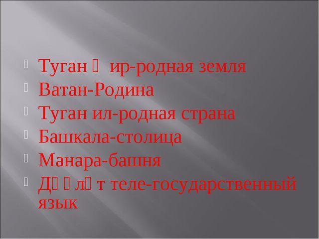 Туган җир-родная земля Ватан-Родина Туган ил-родная страна Башкала-столица Ма...