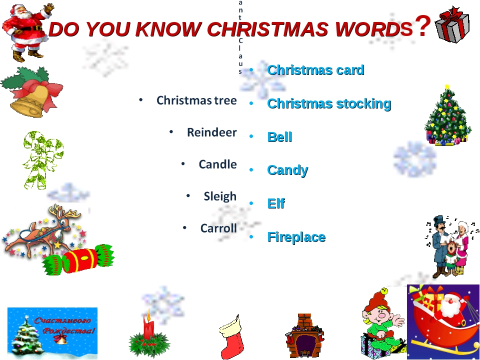 DO YOU KNOW CHRISTMAS WORDS? Christmas card Christmas stocking Bell Candy Elf...