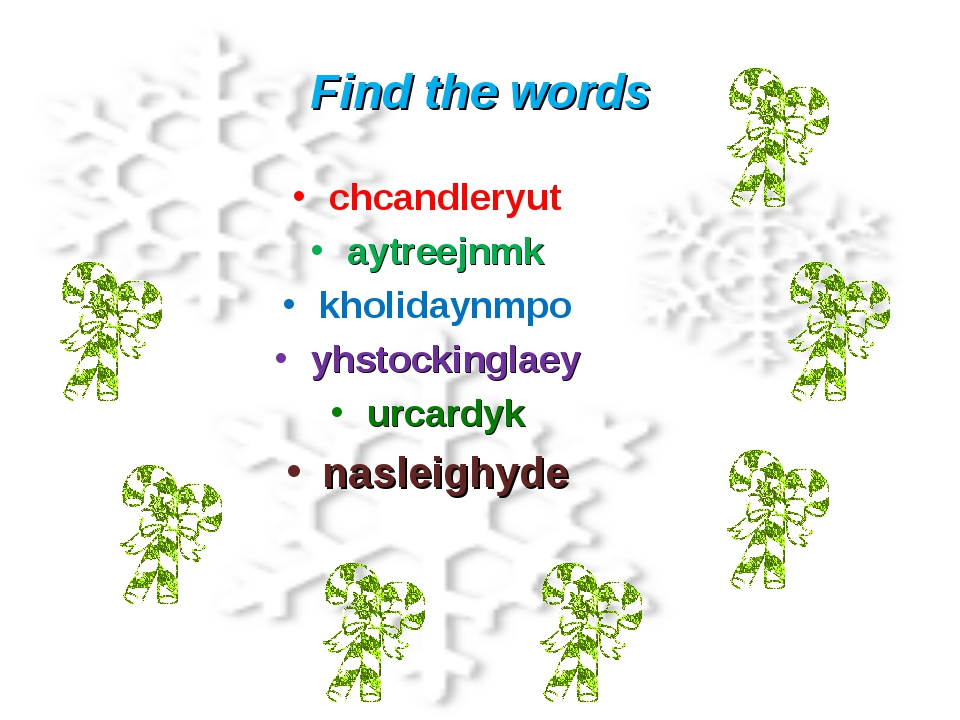Find the words chcandleryut aytreejnmk kholidaynmpo yhstockinglaey urcardyk n...