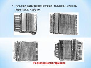 Разновидности гармоник тульская, саратовская, вятская «тальянка», ливенка, ч