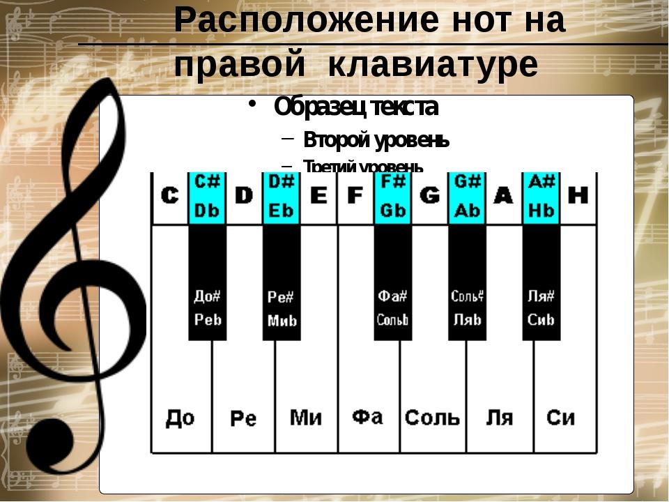 Расположение нот на правой  клавиатуре