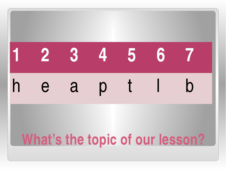 What's the topic of our lesson? 1 2 3 4 5 6 7 h e a p t l b