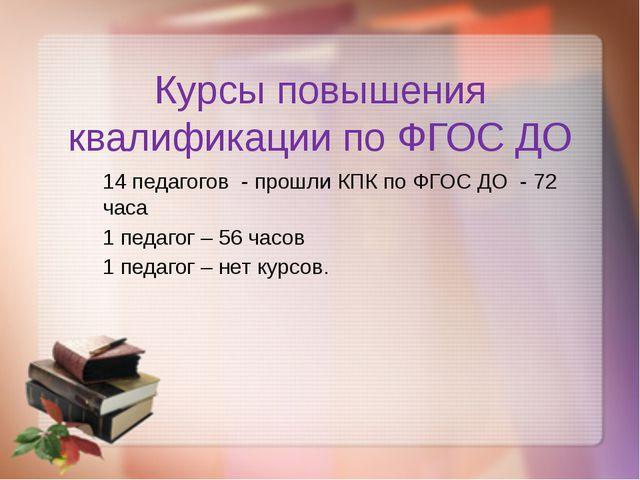 Курсы повышения квалификации по ФГОС ДО 14 педагогов - прошли КПК по ФГОС ДО...