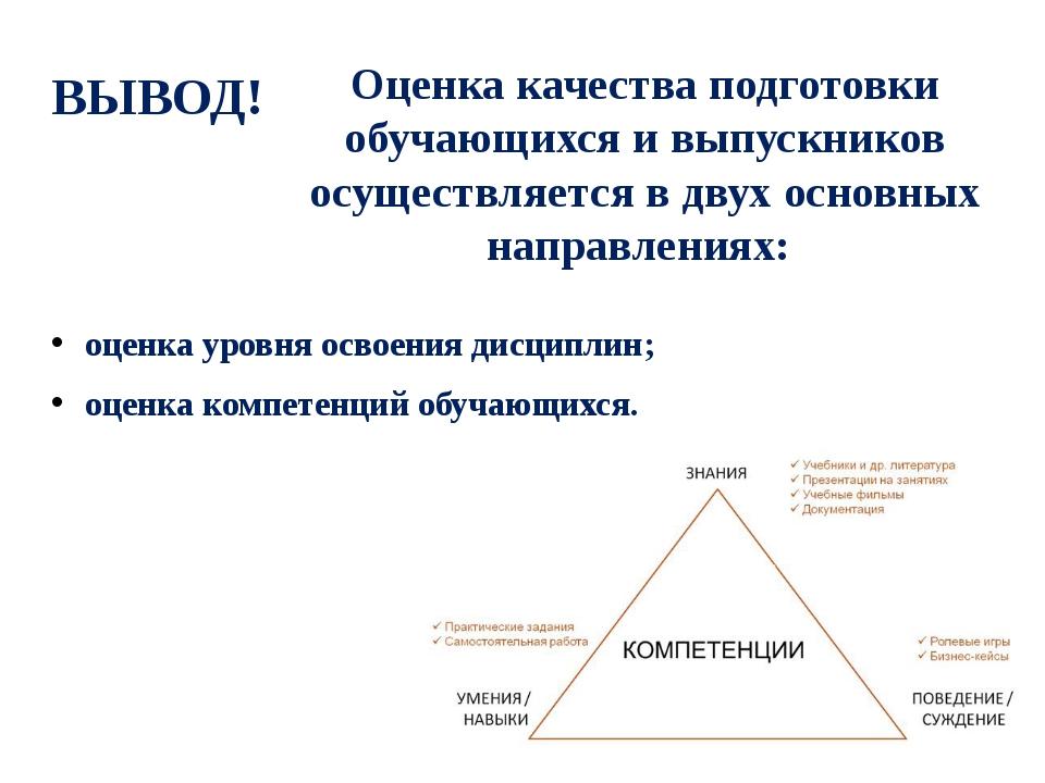 Оценка качества подготовки обучающихся и выпускников осуществляется в двух ос...