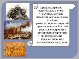 Признаки аграрно-индустриальных стран: значительная часть населения занята в