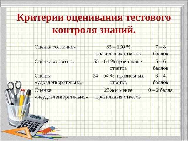 Критерии оценивания тестового контроля знаний. Оценка «отлично»85 – 100 % п...