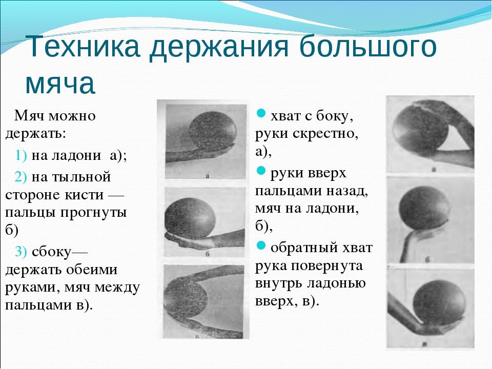 Техника держания большого мяча Мяч можно держать: на ладони а); на тыльной ст...