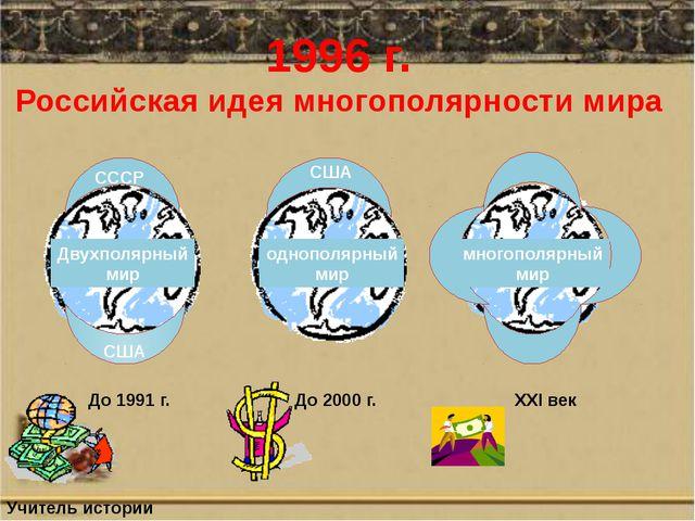 1996 г. Российская идея многополярности мира СССР США США многополярный мир Д...