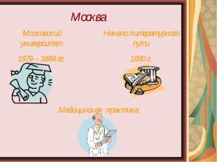 Москва Московский университет 1879 – 1884 гг. Начало литературного пути 1880