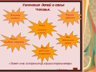 Увлечения детей в семье Чеховых. Александр писатель Мария художница, мемуарис
