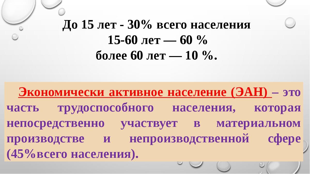 До 15 лет - 30% всего населения 15-60 лет — 60 % более 60 лет — 10 %. Эконом...