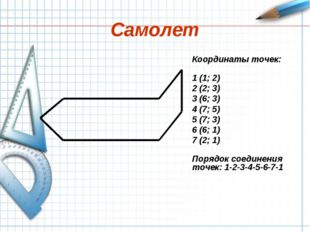 Самолет Координаты точек: 1 (1; 2) 2 (2; 3) 3 (6; 3) 4 (7; 5) 5 (7; 3) 6 (6;