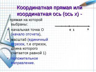 Координатная прямая или координатная ось (ось x) - - прямая на которой выбран