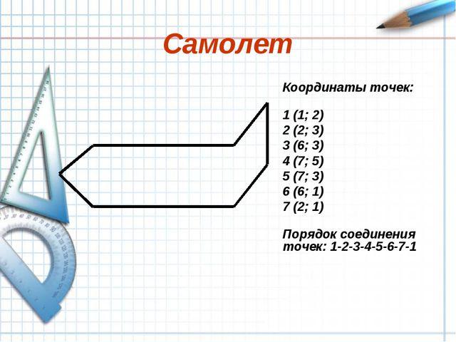 Самолет Координаты точек: 1 (1; 2) 2 (2; 3) 3 (6; 3) 4 (7; 5) 5 (7; 3) 6 (6;...