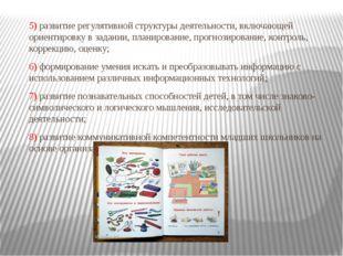 5) развитие регулятивной структуры деятельности, включающей ориентировку в за