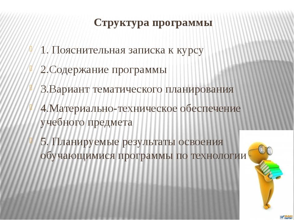 Структура программы 1. Пояснительная записка к курсу 2.Содержание программы 3...