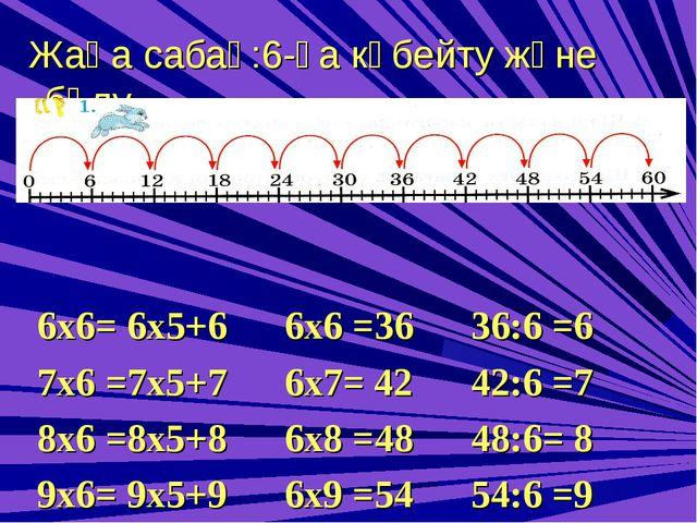Жаңа сабақ:6-ға көбейту және бөлу 6х6= 6х5+6 6х6 =36 36:6 =6 7х6 =7х5+7 6х7=...