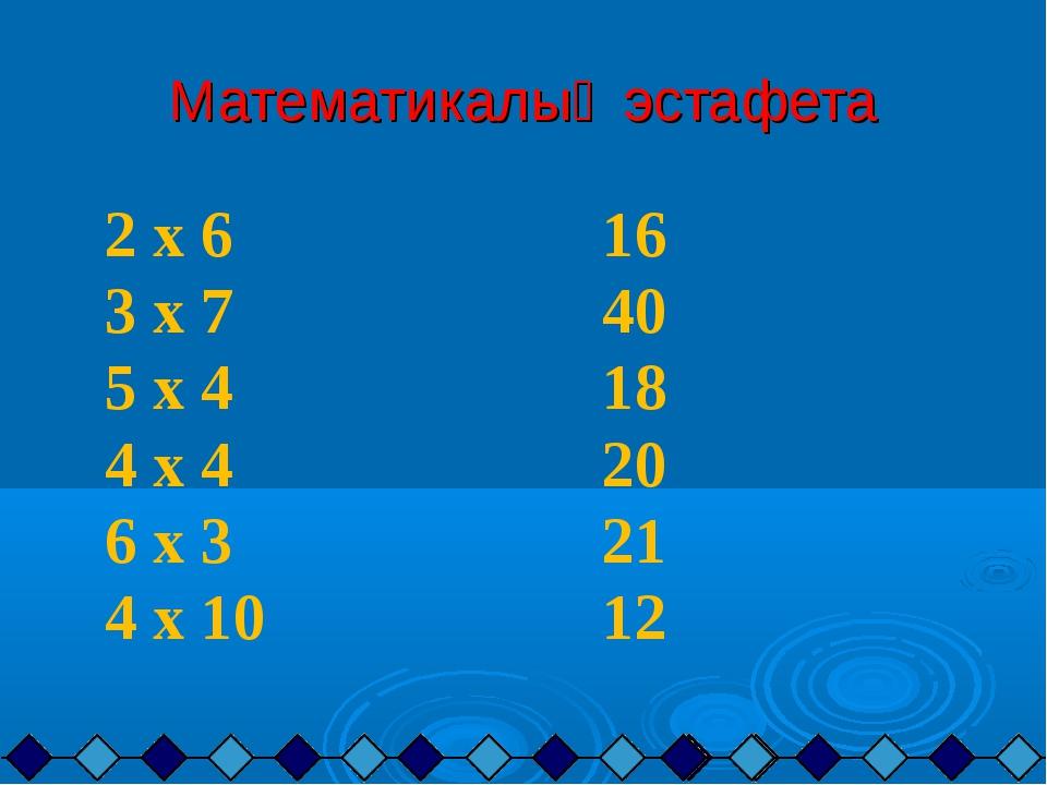 Математикалық эстафета 2 х 6 16 3 х 7 40 5 х 4 18 4 х 4 20 6 х 3 21 4 х 10 12
