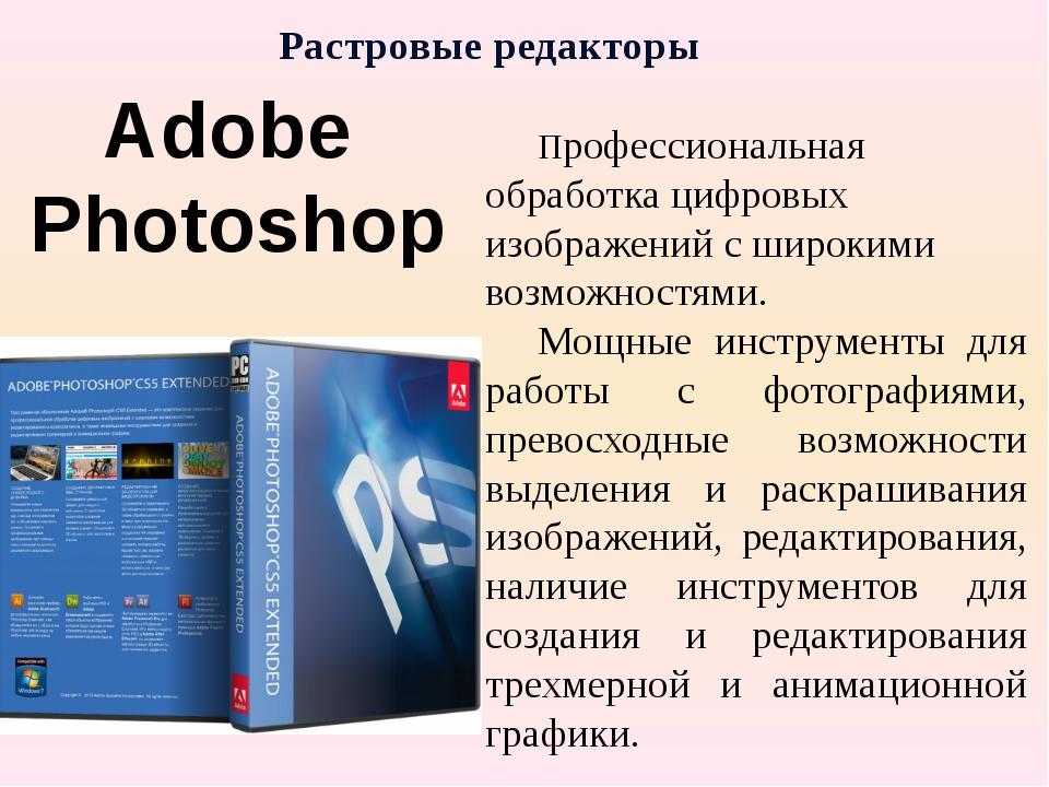 Растровые редакторы Профессиональная обработка цифровых изображений с широки...