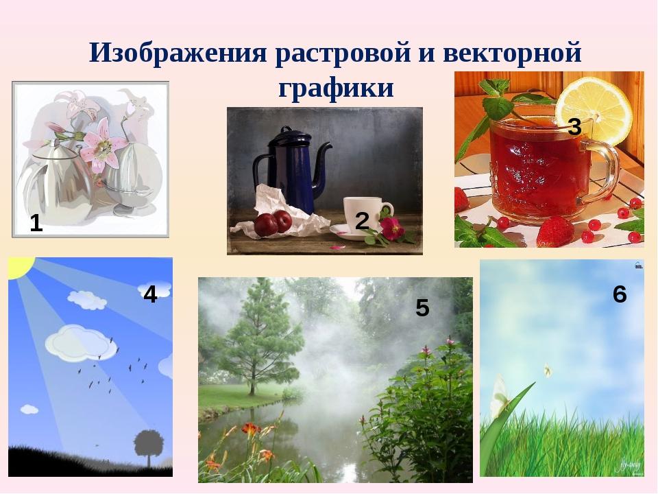 Изображения растровой и векторной графики 1 2 3 4 5 6