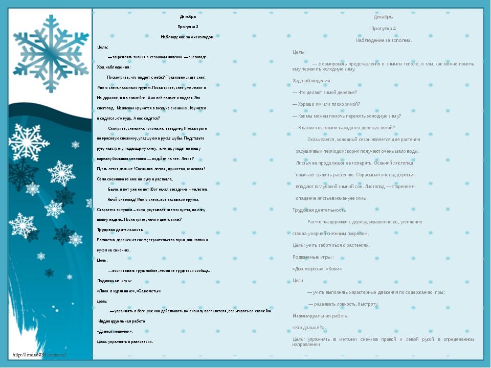 Декабрь Прогулка 3 Наблюдение за снегопадом. Цель: — закреплять знания о сезо...