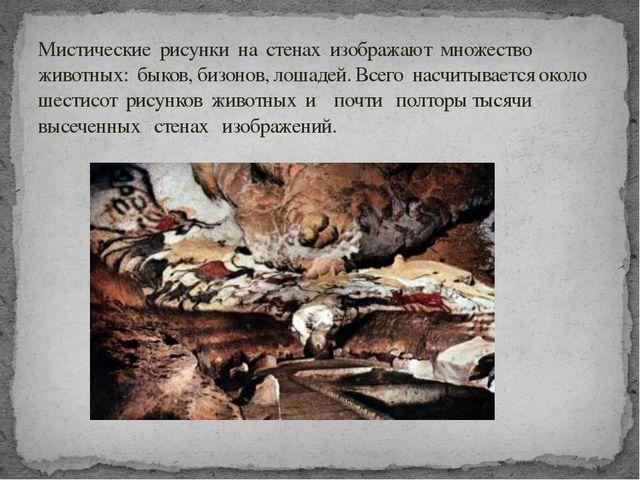 Мистические рисунки на стенах изображают множество животных: быков, бизонов,...