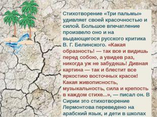 Стихотворение «Три пальмы» удивляет своей красочностью и силой. Большое впеч