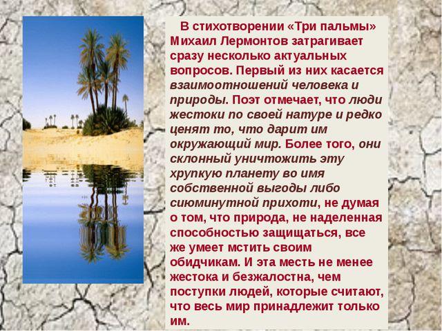 В стихотворении «Три пальмы» Михаил Лермонтов затрагивает сразу несколько ак...