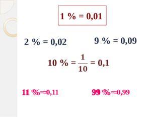1 % = 0,01 2 % = 9 % = 2 % = 0,02 9 % = 0,09 10 % = = 0,1 10 % = 11 % = 99 %