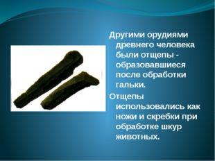 Другими орудиями древнего человека были отщепы - образовавшиеся после обработ