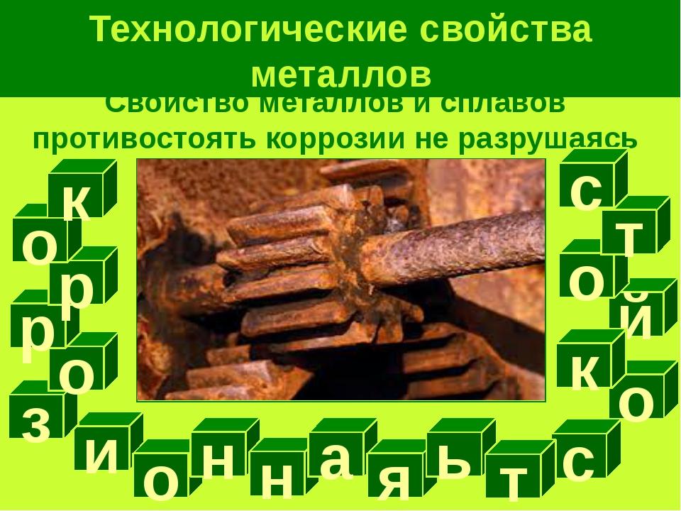 Технологические свойства металлов Свойство металлов и сплавов противостоять к...