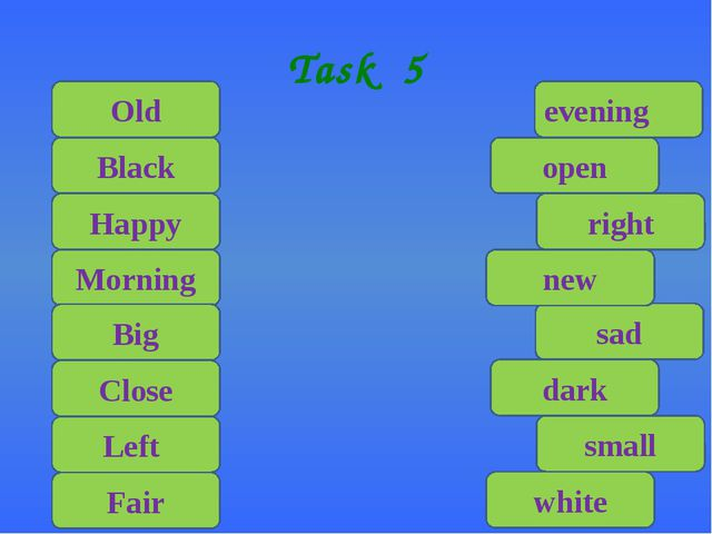 Task 5 Old Black Happy Morning Big Close Left Fair white small dark sad new r...