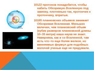 10122протонов понадобится, чтобы набить Обозримую Вселенную под завязку, пл