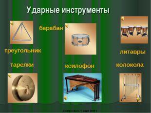 Ударные инструменты треугольник барабан ксилофон тарелки колокола литавры Дми