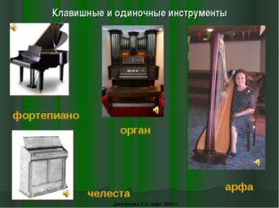 Клавишные и одиночные инструменты фортепиано орган челеста арфа Дмитриева С.Н