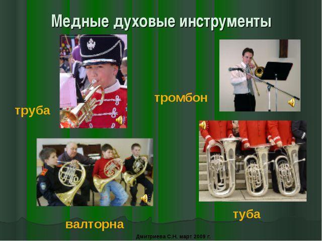 Медные духовые инструменты труба тромбон валторна туба Дмитриева С.Н. март 20...