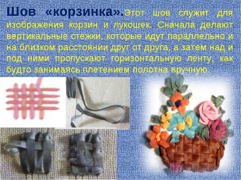 Шов «корзинка».Этот шов служит для изображения корзин и лукошек. Сначала дела...
