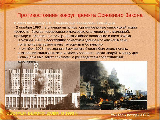 Противостояние вокруг проекта Основного Закона ОБСТРЕЛ БЕЛОГО ДОМА В 1993 г....