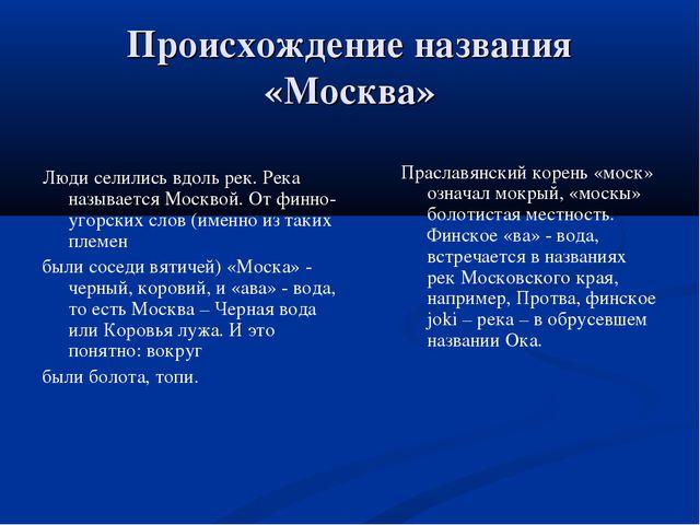 Происхождение названия «Москва» Люди селились вдоль рек. Река называется Моск...