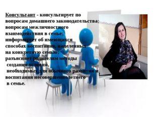 Консультант - консультирует по вопросам домашнего законодательства; вопросам
