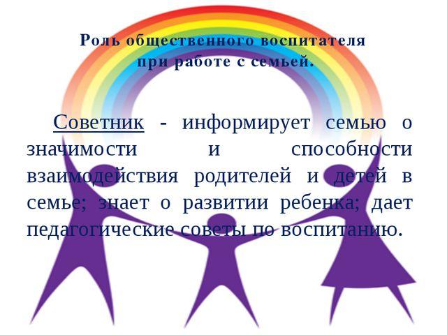Роль общественного воспитателя при работе с семьей. Советник - информирует се...