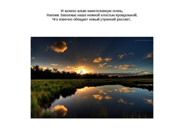 И залило алым заметеленную осень, Напоив Заволжье наше нежной алостью прощаль...